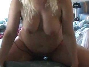Real blond BBW fucks with black dildo