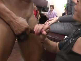 Office girls celebrating birthday with cock in their mouth
