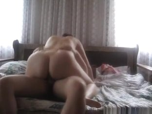French girl looks surprised that her fat bf came inside her pussy