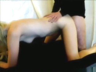 Moaning blonde has oral, missionary and doggystyle sex and swallows.