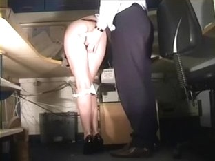 Leggy stewardess is spanked and finger drilled