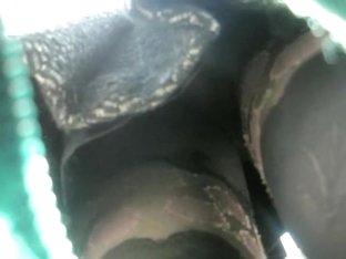 Horny stockings upskirt voyeured in the street