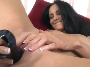 Ava Addams masturbates with her big black toy and sucks a real dick