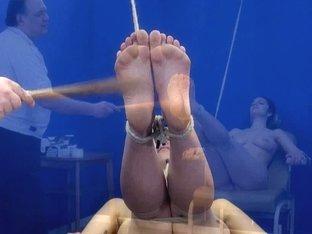 Feet whipping slavery and foot fetish of dilettante sadomasochism bondman