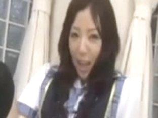 Adorable Japanese babe masturbates and blows
