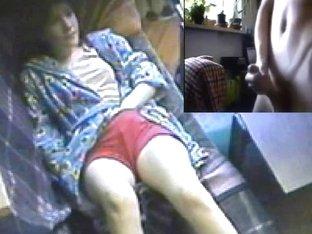 Double masturbation to a hidden masturbation spy cam