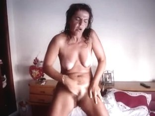 Lady having an intense standing orgasm