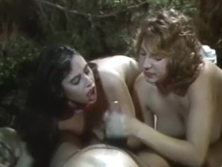 Retro amateur porn video scene of two older honeys sucking big dong
