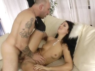 Alluring whore bounces her asshole on a huge prick