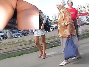 Astonishing upskirt booty footage