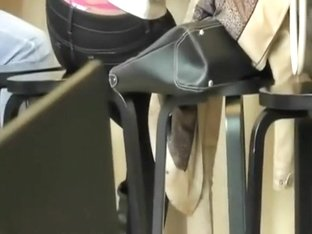 Charming teen girl's thong peeks out