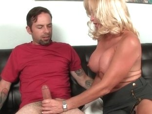 Cougar momma jerking off boyfriends cock