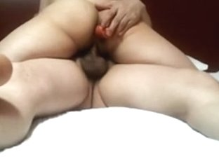 Girl with hairy pussy gets a cowgirl creampie with a dildo stuck in her ass