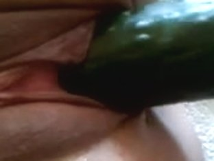 Cucumber in MY doxies cunt Masturbation Marital-Device