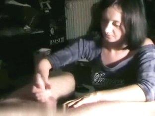 Decent handjob performed by tattooed chick