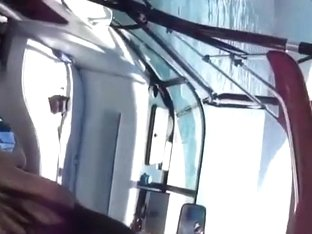 Asian girl fucks her white bf on a boat on the sea
