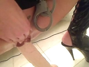 police sweetheart rides a biggest vibrator