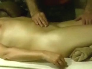 Giving wife away to masseuse, that guy warms and feels her up 1st.