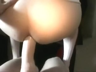 Fucking my lesbian girlfriend in the arse with a jock obese sex toy