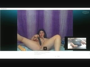 vicious large nice-looking woman on web camera with me