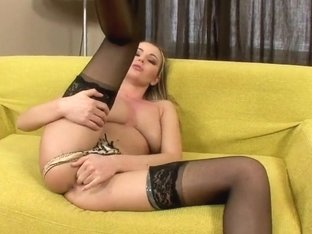 Nelly Sullivan in stockings fingers wet cunny
