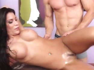 Johnny lubes her up to prepare her for his big dick and some nasty massage sex!