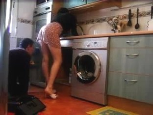 She's teasing the repair man