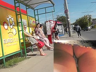 Skinny blonde chick got in a public upskirt oops