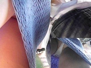 Lace straps up blue knit suit