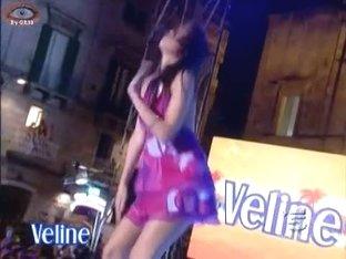 Italian wannabe pop star makes up skirt magic on TV