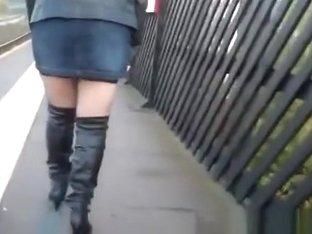 Exhibitionist blonde in short skirt