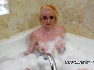 Busty blonde tries anal fingering