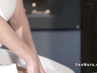 Busty redhead masseuse and blonde babe