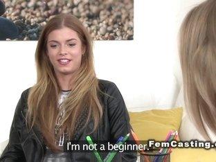 Czech brunette model fingered in casting