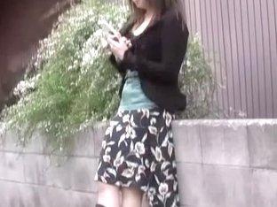 Sharking video showing a Japanese girl in cute pink panties