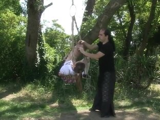 Samantha Bentley tied up and hanging in the woods
