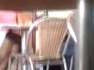 Pervert recorded this hot wench in up skirt in a cafe
