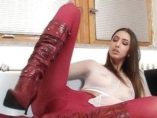 Sexy Pamela fully nylons covered masturbation video