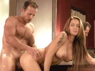 Blonde Simone receives a cunnilingus from horny George