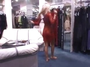 Walking nude in the lingerie shop