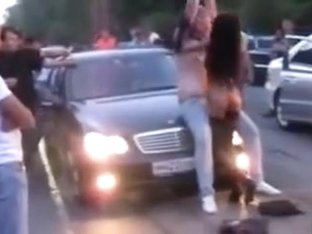 Car Show Girl Practically Fucks Guy In Public