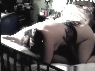 Chubby brunette white girl with hairy pussy has oral, cowgirl and missionary sex with a black guy,.