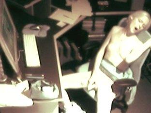 Spy At Desk Masturbating