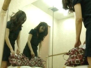A ballet dancing girl is in the dressing room getting undress to a spy camera