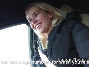 Blonde Euro teen sucking big dick in car