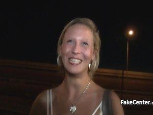 Mature blonde fucked in public