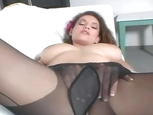 Breasty brunette hair mother I'd like to fuck teases in darksome hose