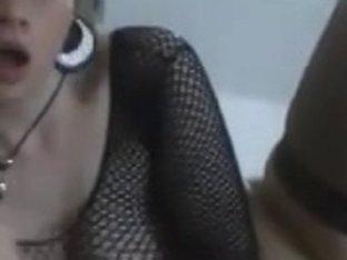 Passionate cock sucking French slut in black stockings