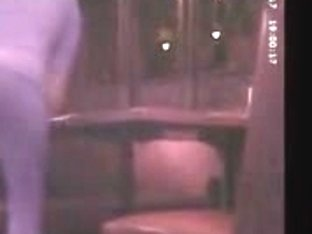 Spying on golden-haired waitress with hard constricted arse in leggings