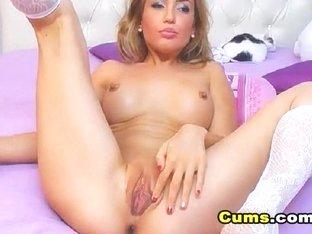 Wild Blonde Babe Masturbating with her Dildo